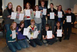 Geslaagden voor het diploma EHAK (Eerste Hulp Aan Kinderen)